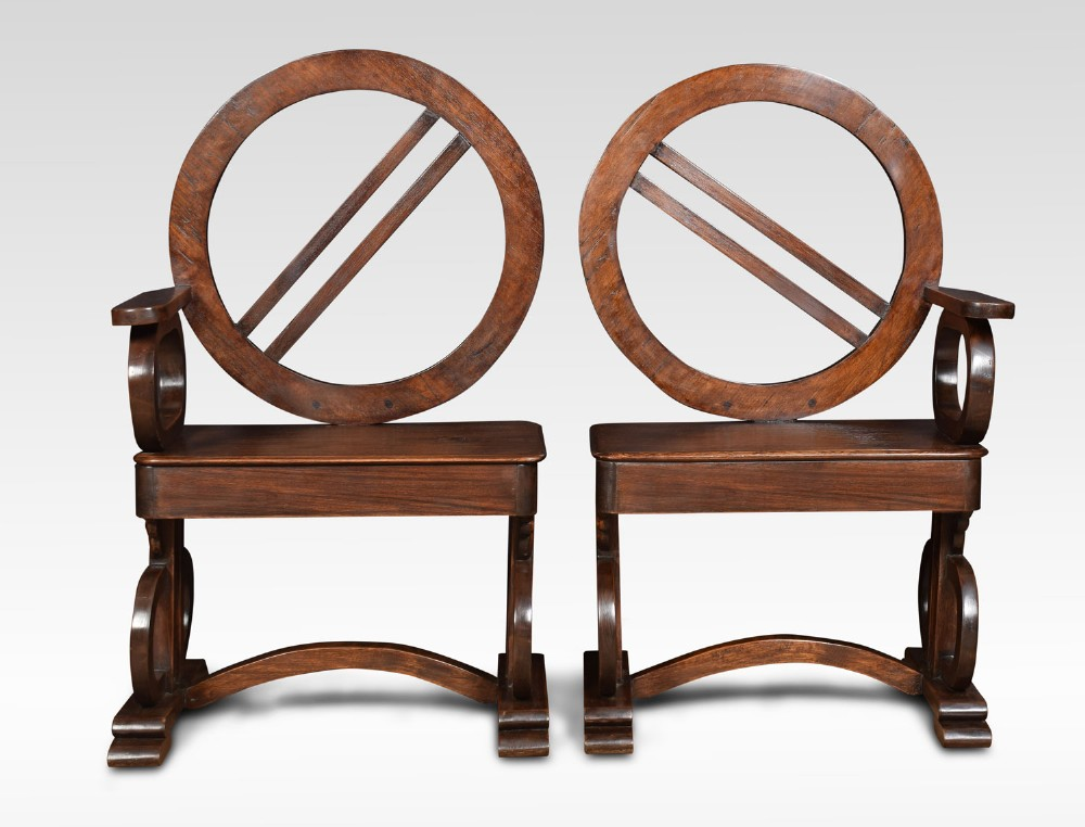 pair of unusual oak hall chairs