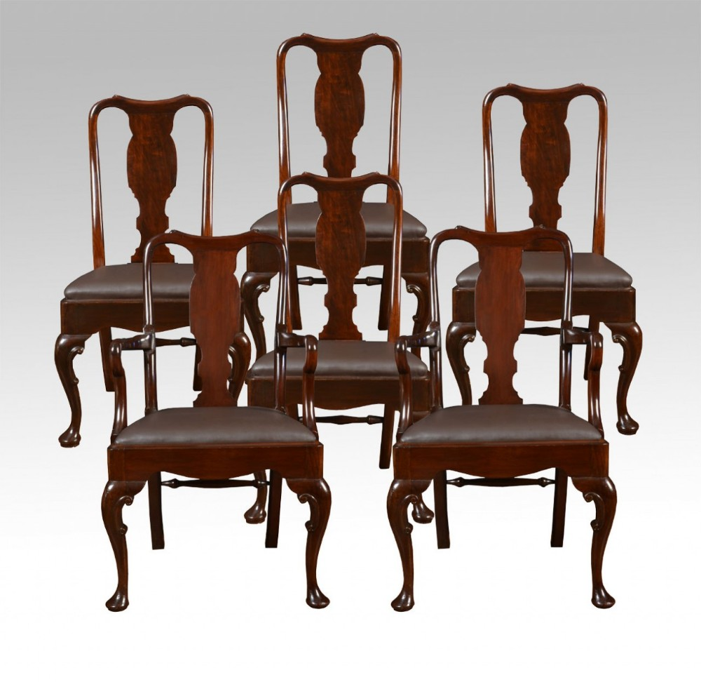 set of six queen anne style high back dining chairs