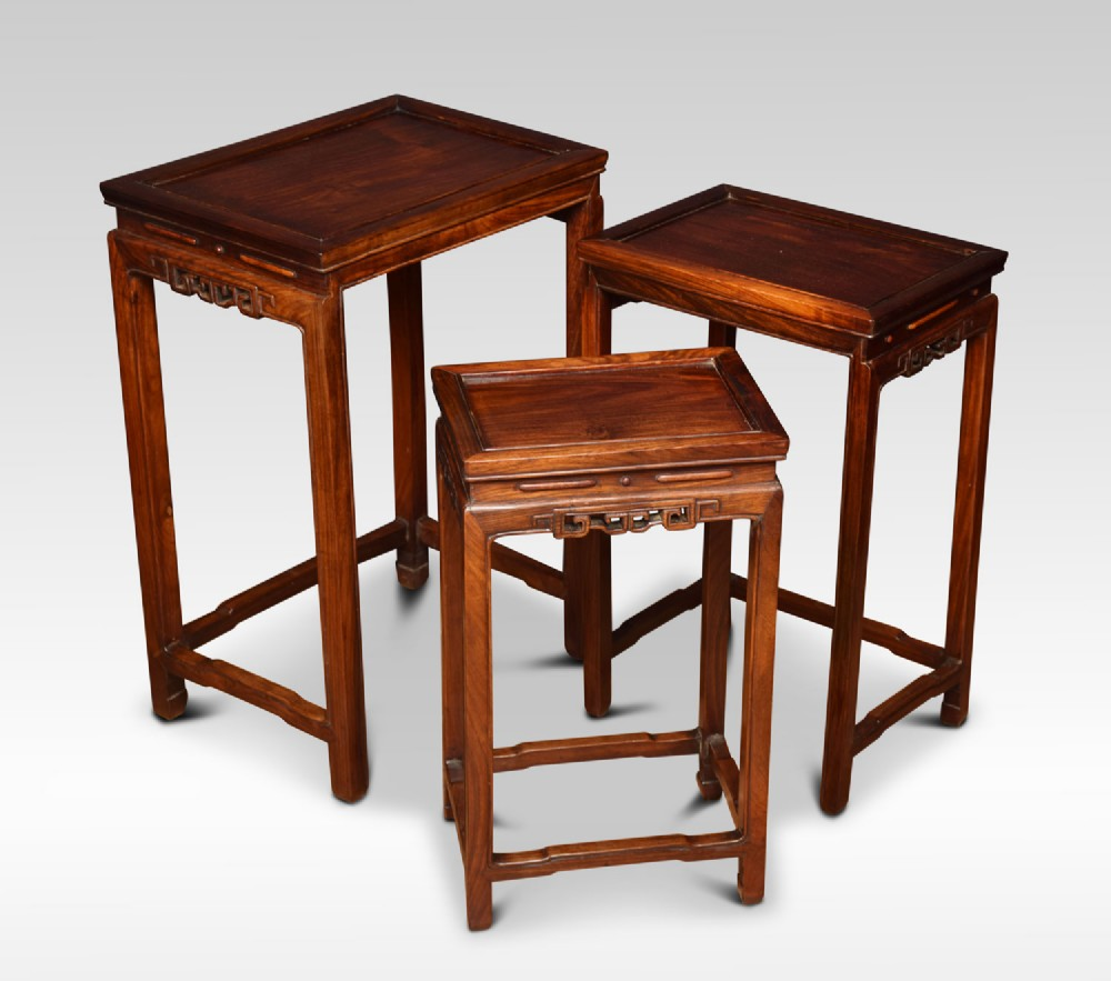 nest of three graduated chinese rosewood tables