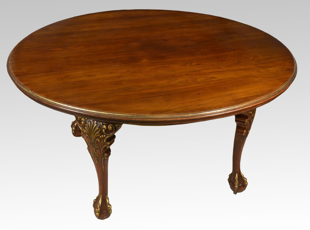Large walnut round dining table for Biggest dining table
