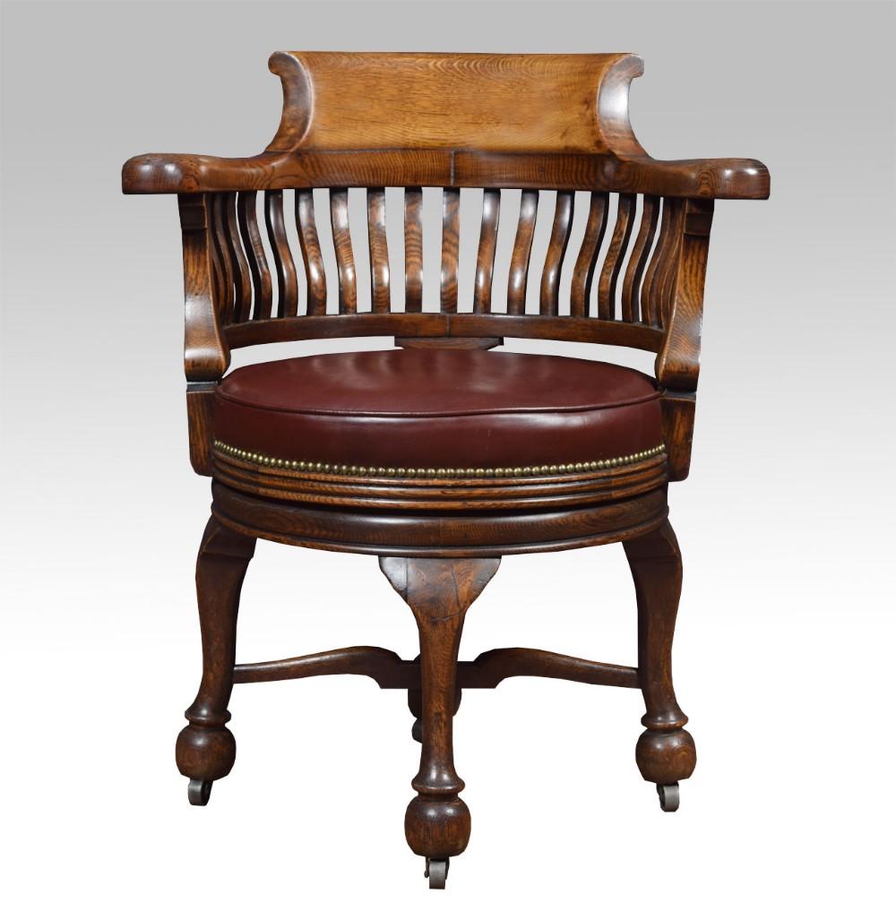 Victorian Oak Swivel Desk Chair