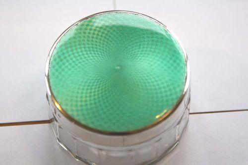 silver art deco green guilloche enamel glass power jar