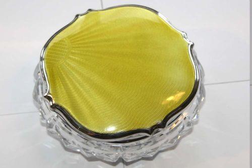 silver art deco yellow guilloche enamel cut glass jar