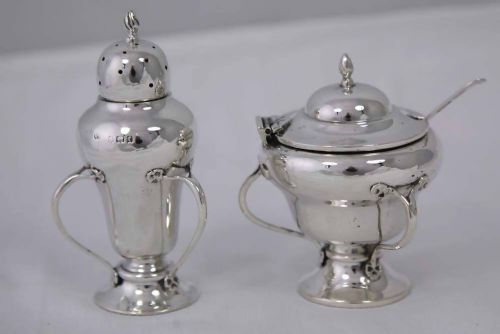 art crafts silver salt pepper hallmarked birmingham 1906