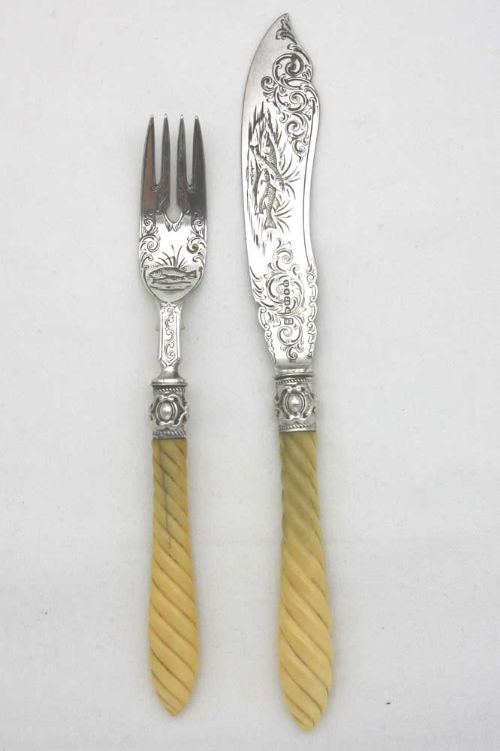 ivory silver a1 plated fish knife and folk circa 1880