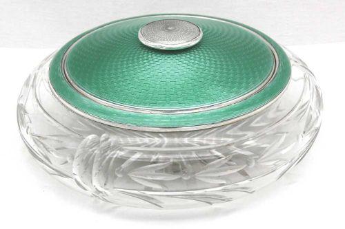 silver glass gilloche powder bowl