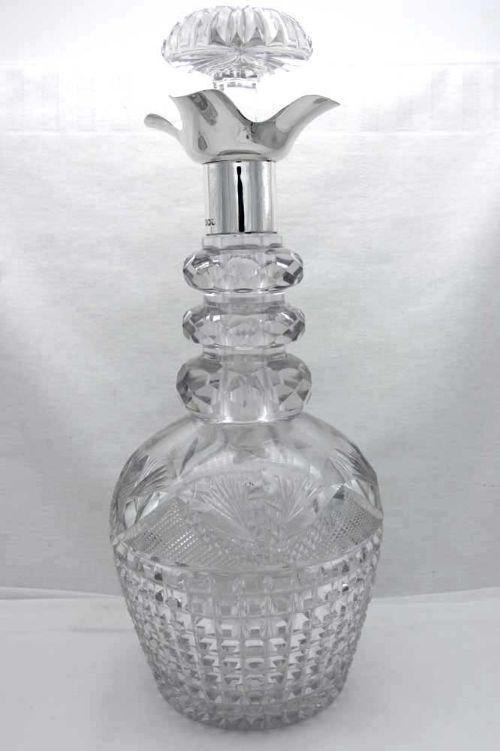 george v silver cut glass decanter