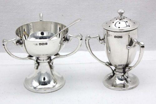 arts crafts silver salt and pepper set