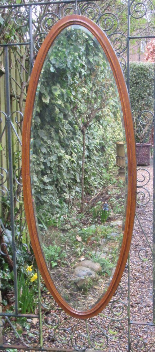 edwardian oval oak dressing mirror