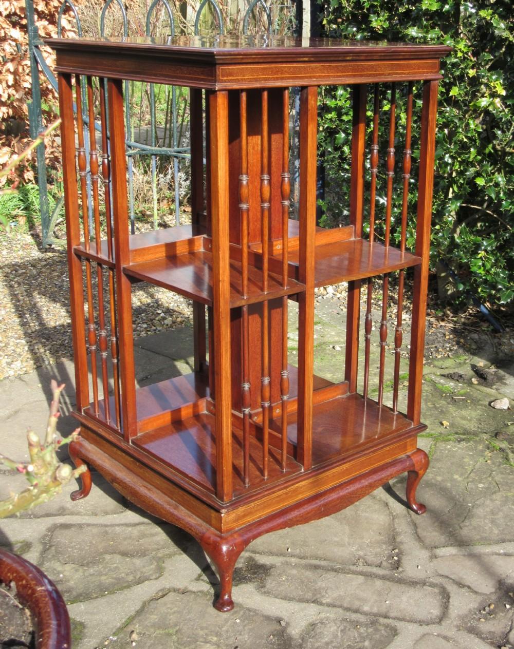 fine edwardian inlaid mahogany revolving bookcase c1910