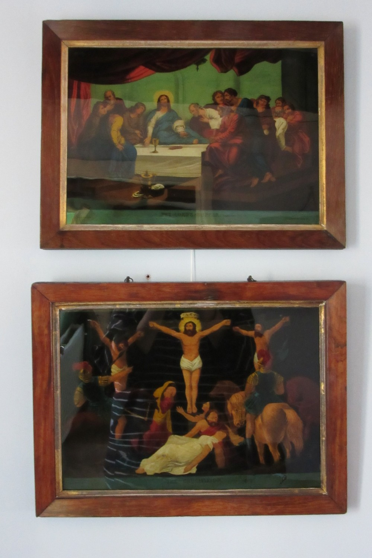 two georgian reverse glass mezzotints by james bateman c1800