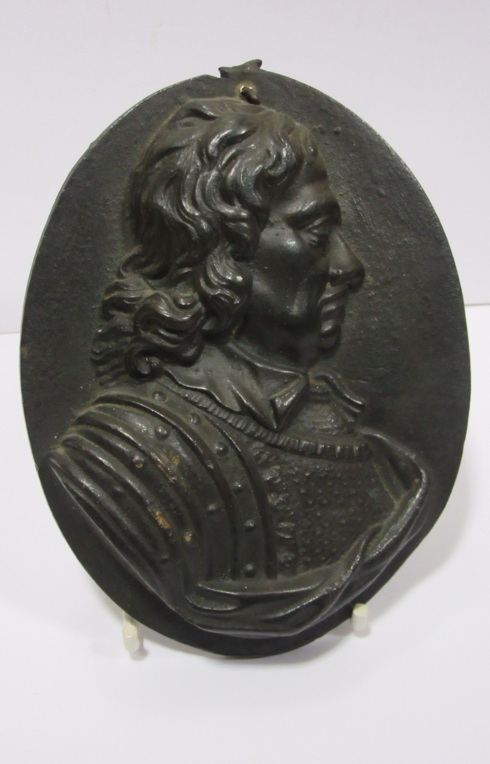 19th century bronze plaque of oliver cromwell