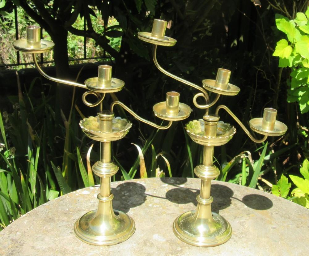 pair jones willis brass gothic style candelabra c1880
