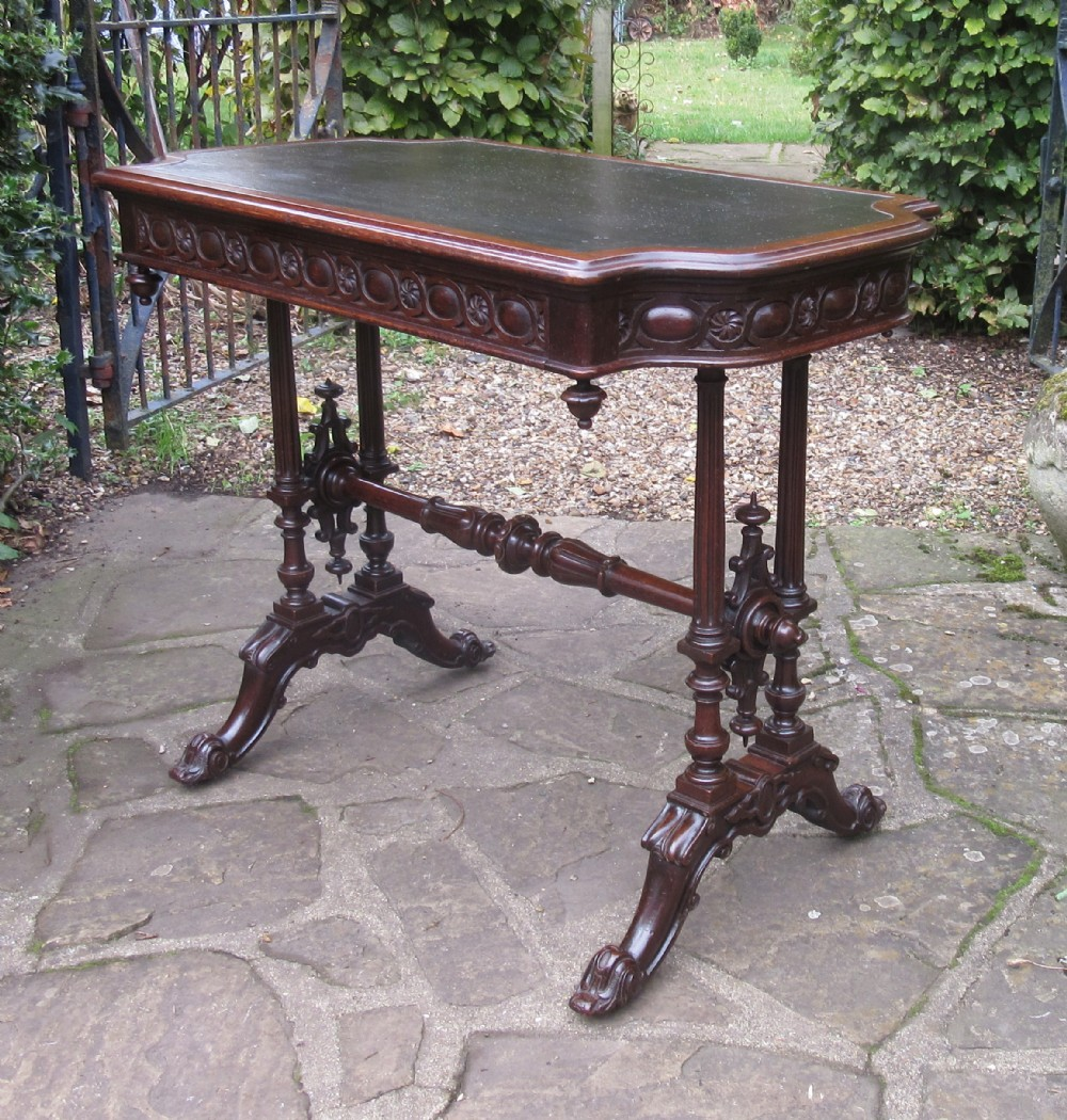 super carved oak writing table c1860