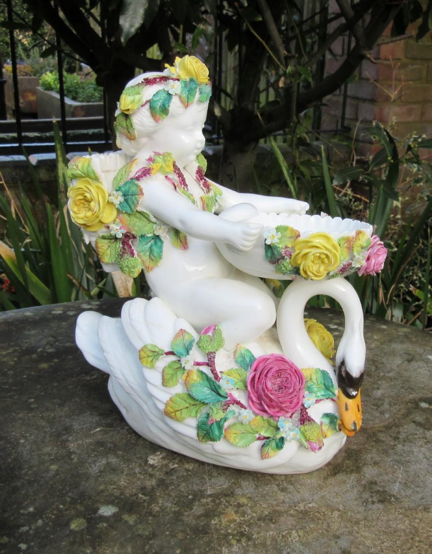 porcelain cherub swan figure c1860