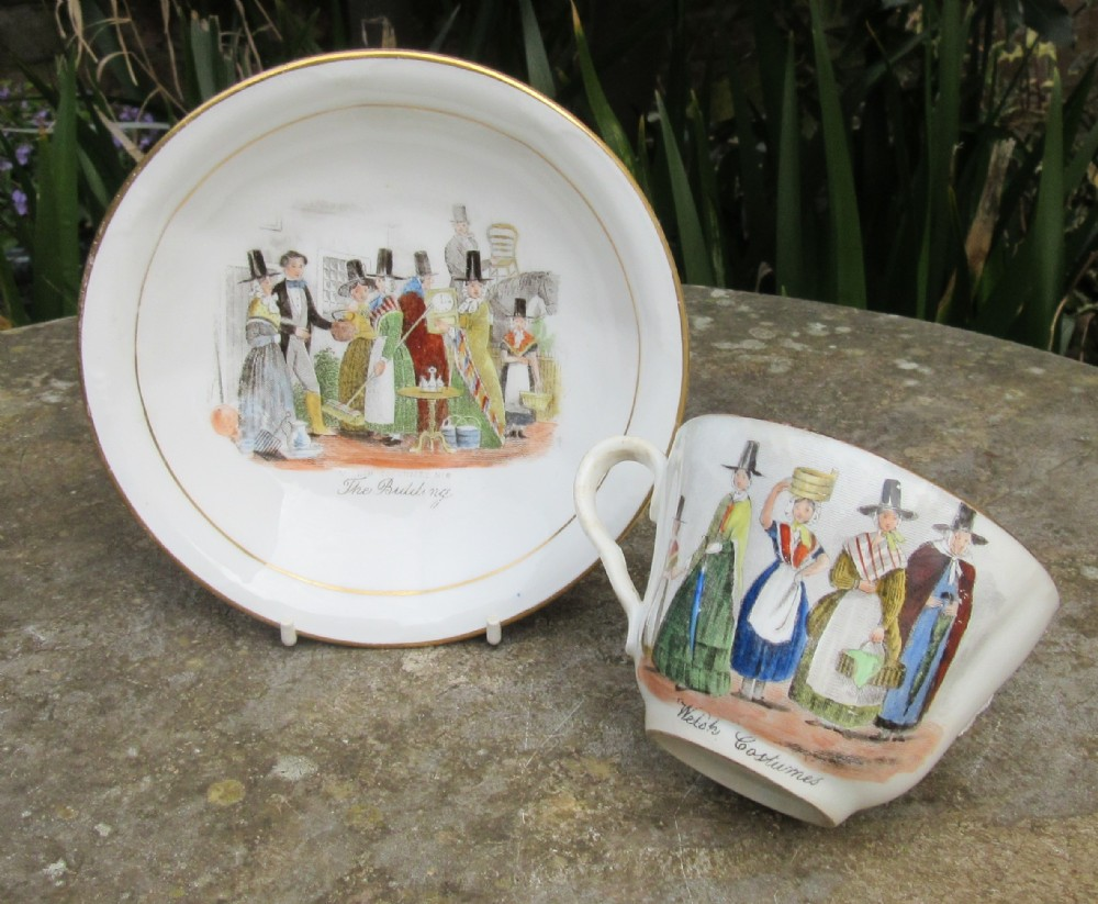 h mitchell swansea welsh auction cup saucer c1860