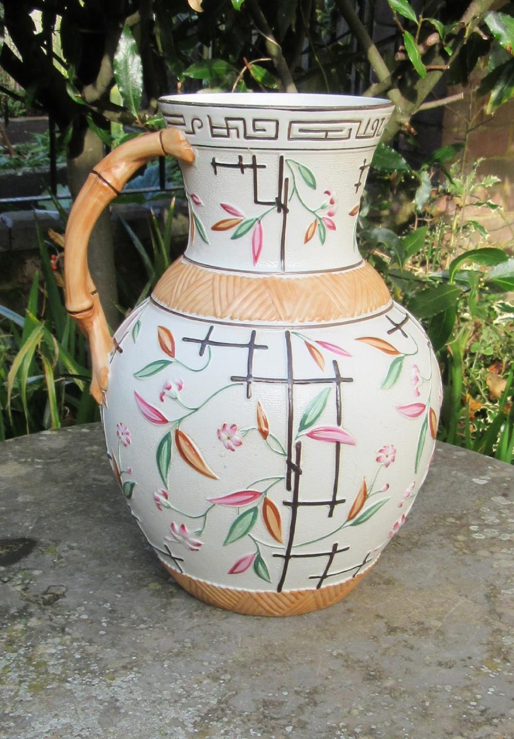 large aesthetic movement brownhills pottery jug 1882