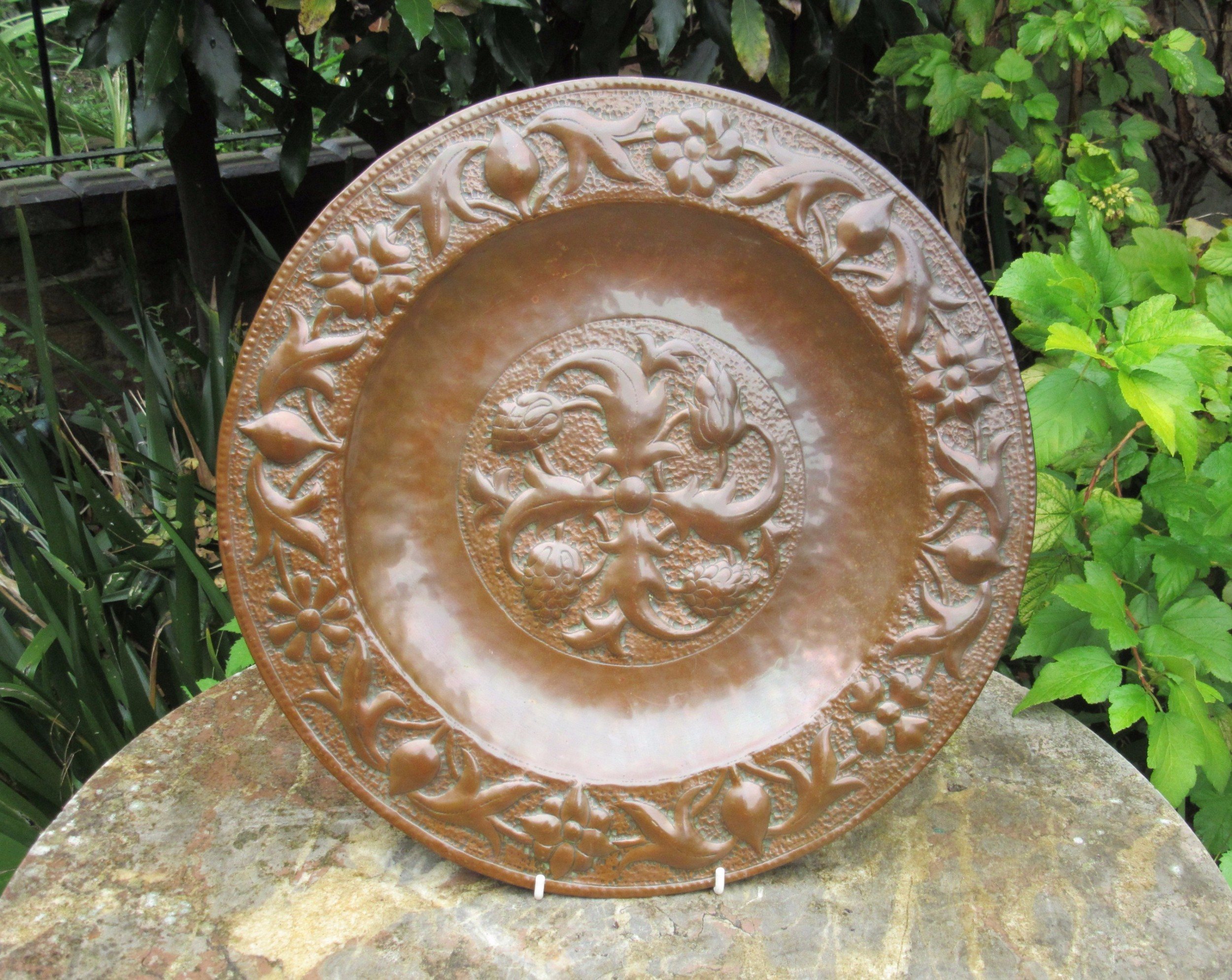 arts crafts newlyn copper charger c1890