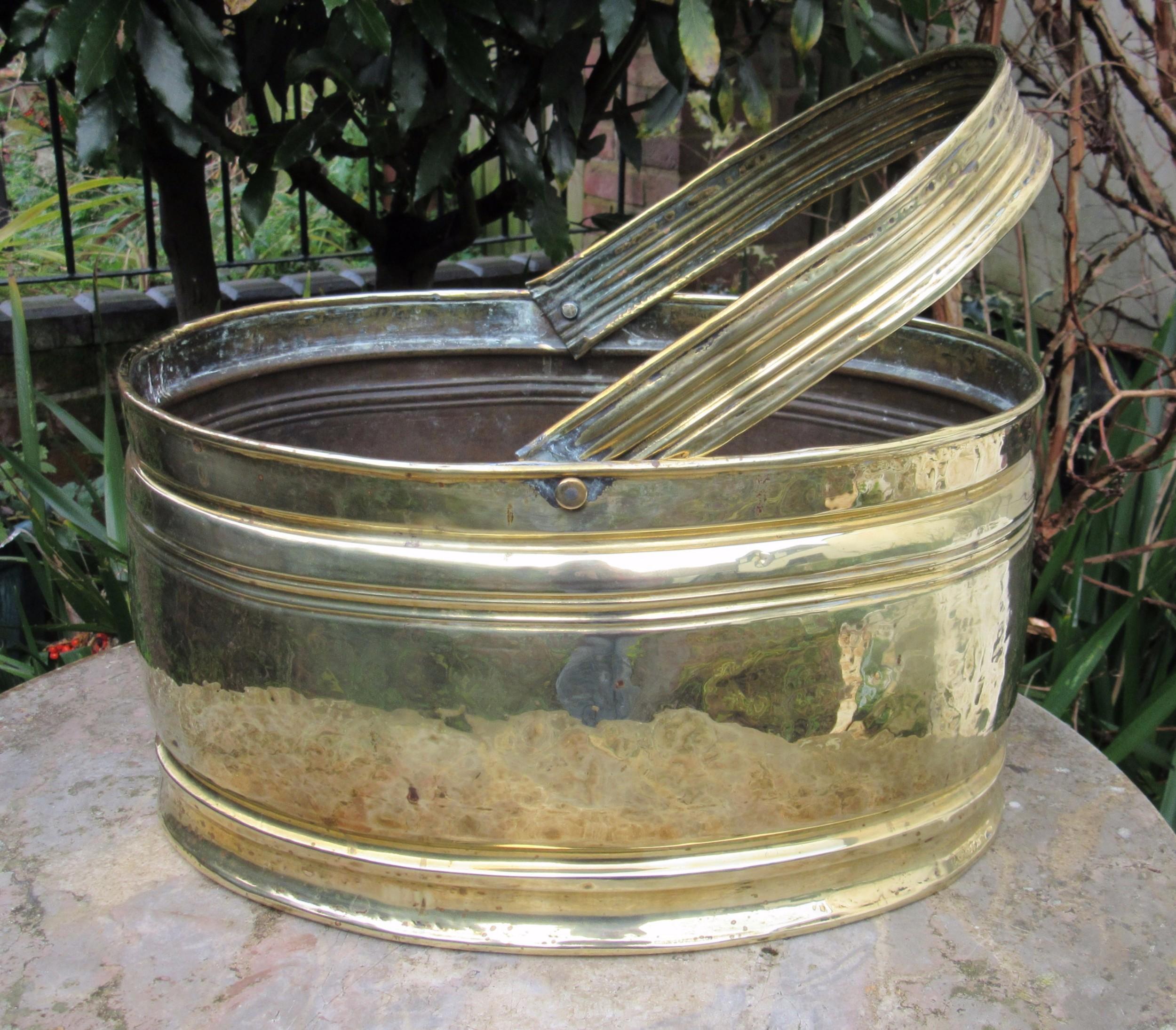 edwardian brass log basket c1910