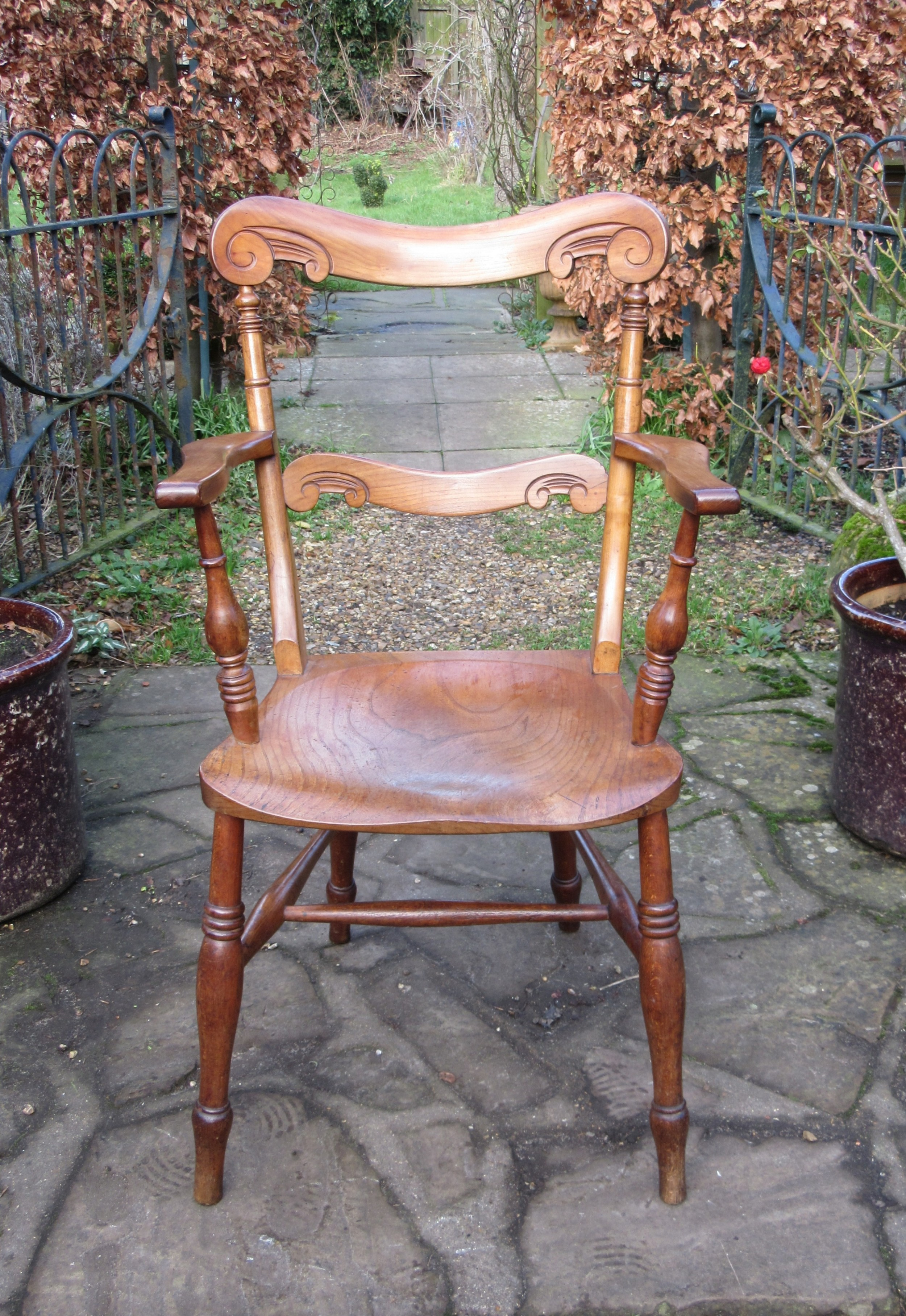 antique elm fruitwood country armchair c1850