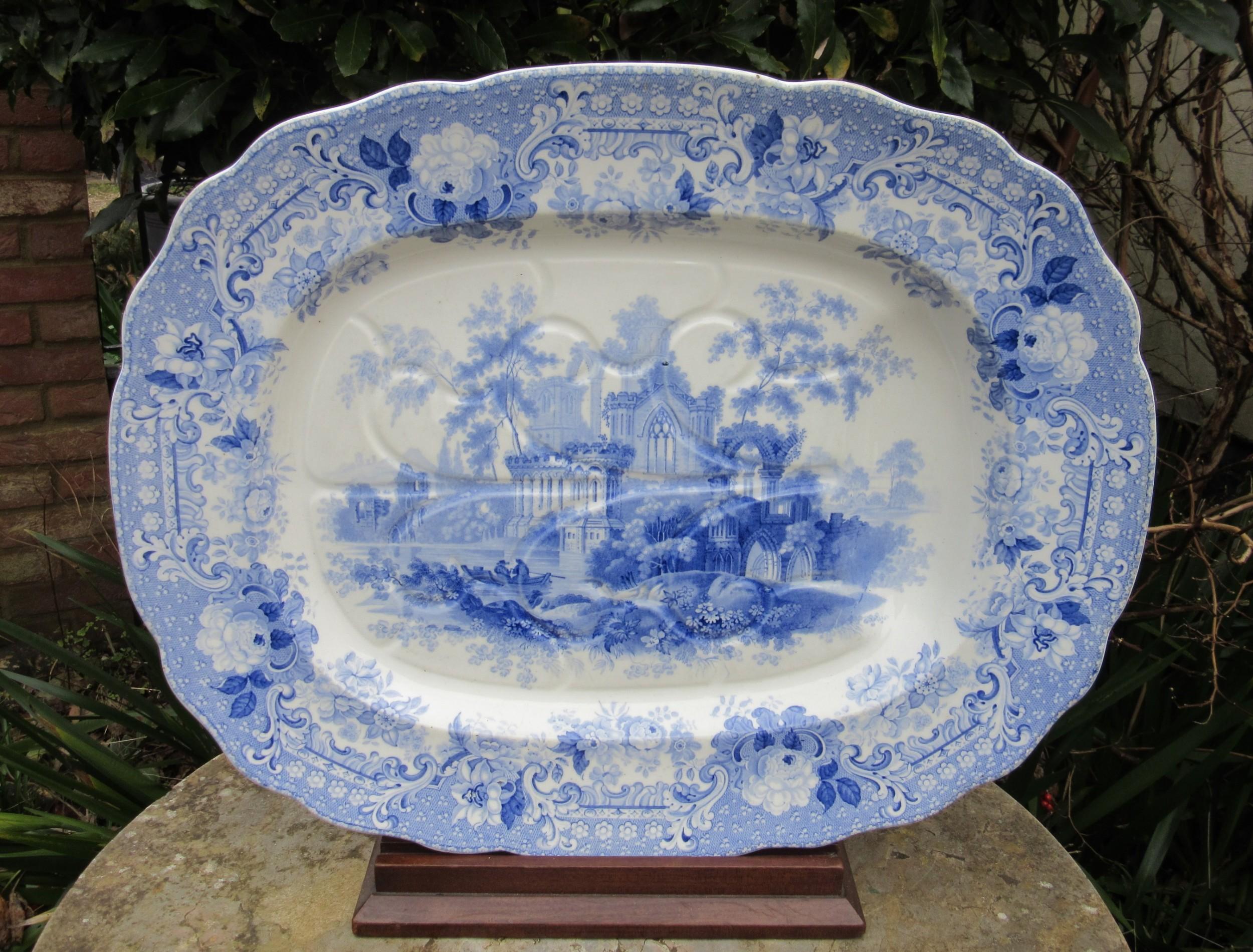 large staffordshire blue white verona serving plate c1850