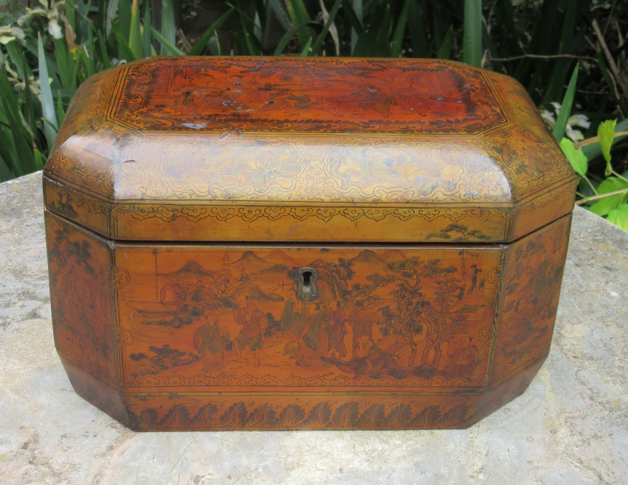 19th century chinese lacquered sewing box