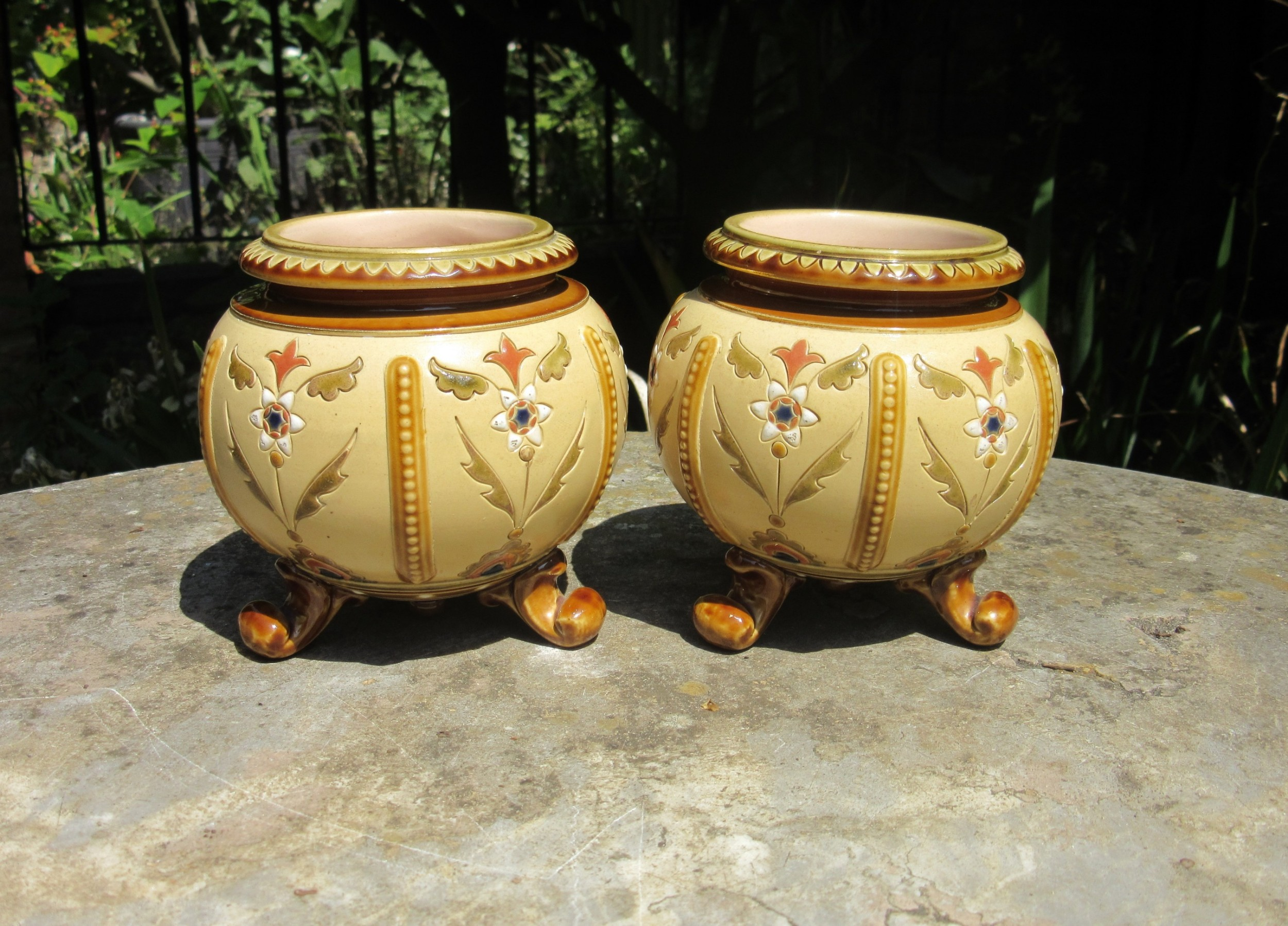 pair of small aesthetic movement pottery vases c1880
