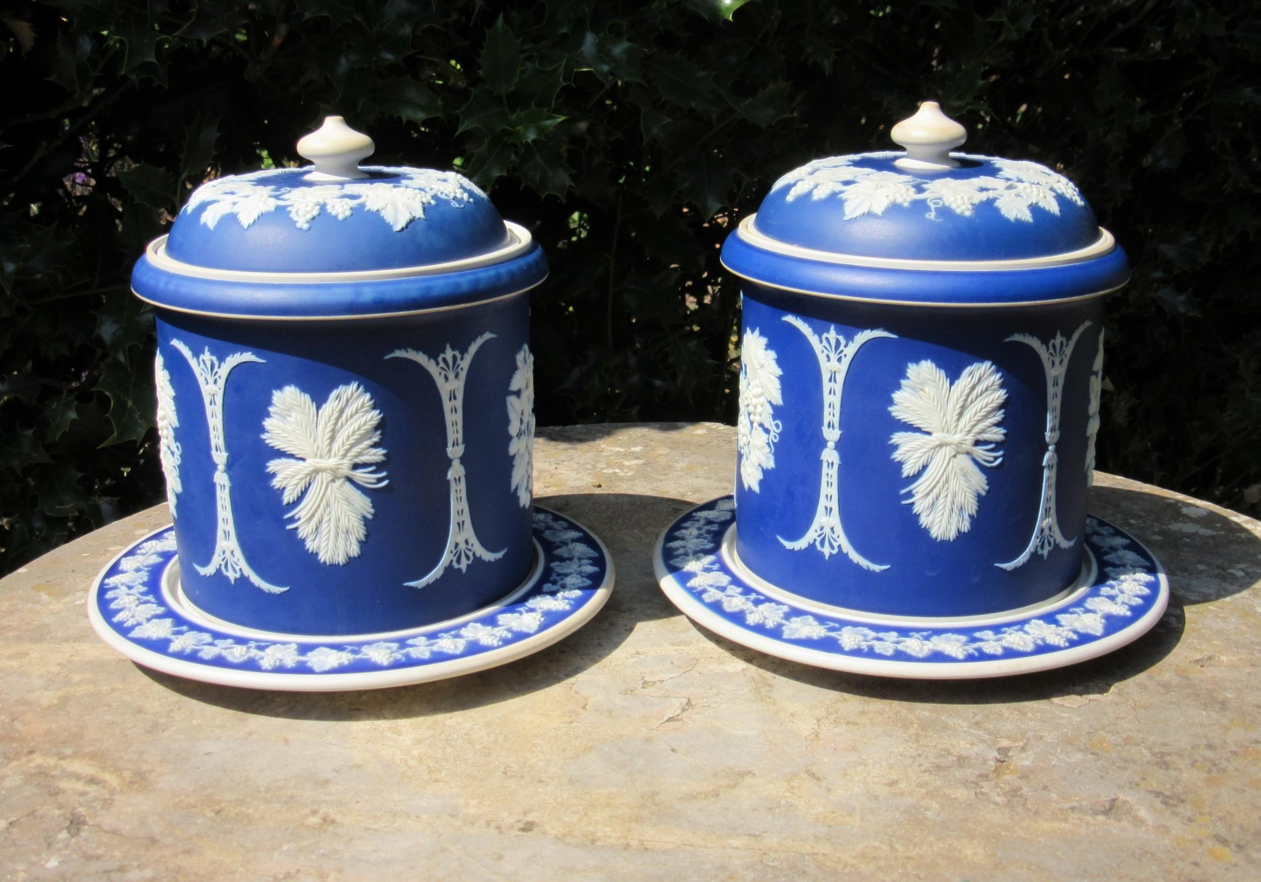 pair of jasperware jars covers stands c1860