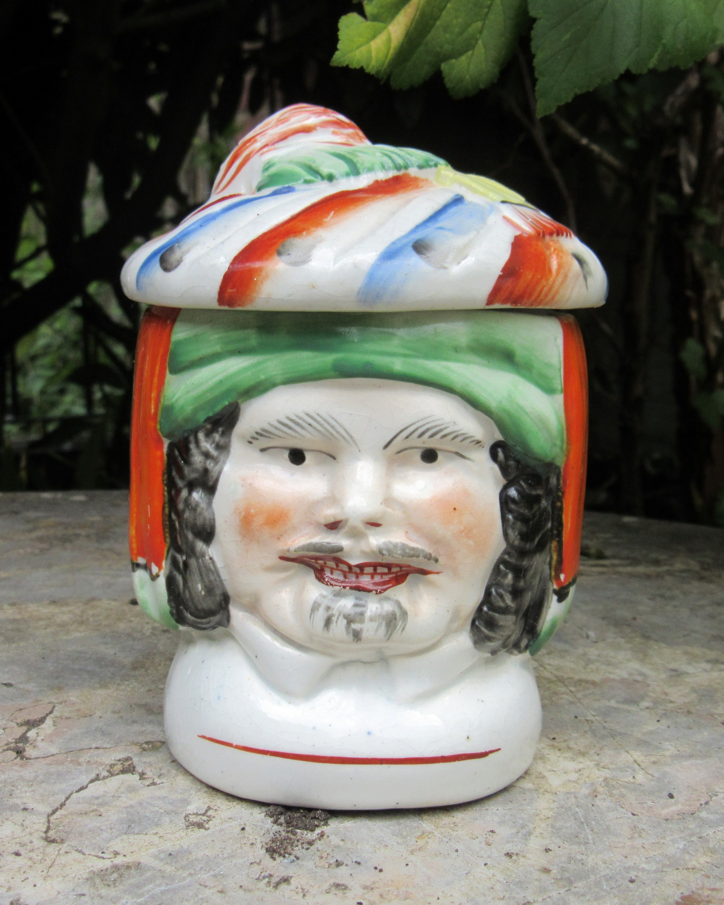 antique staffordshire doublesided turk's head jar cover
