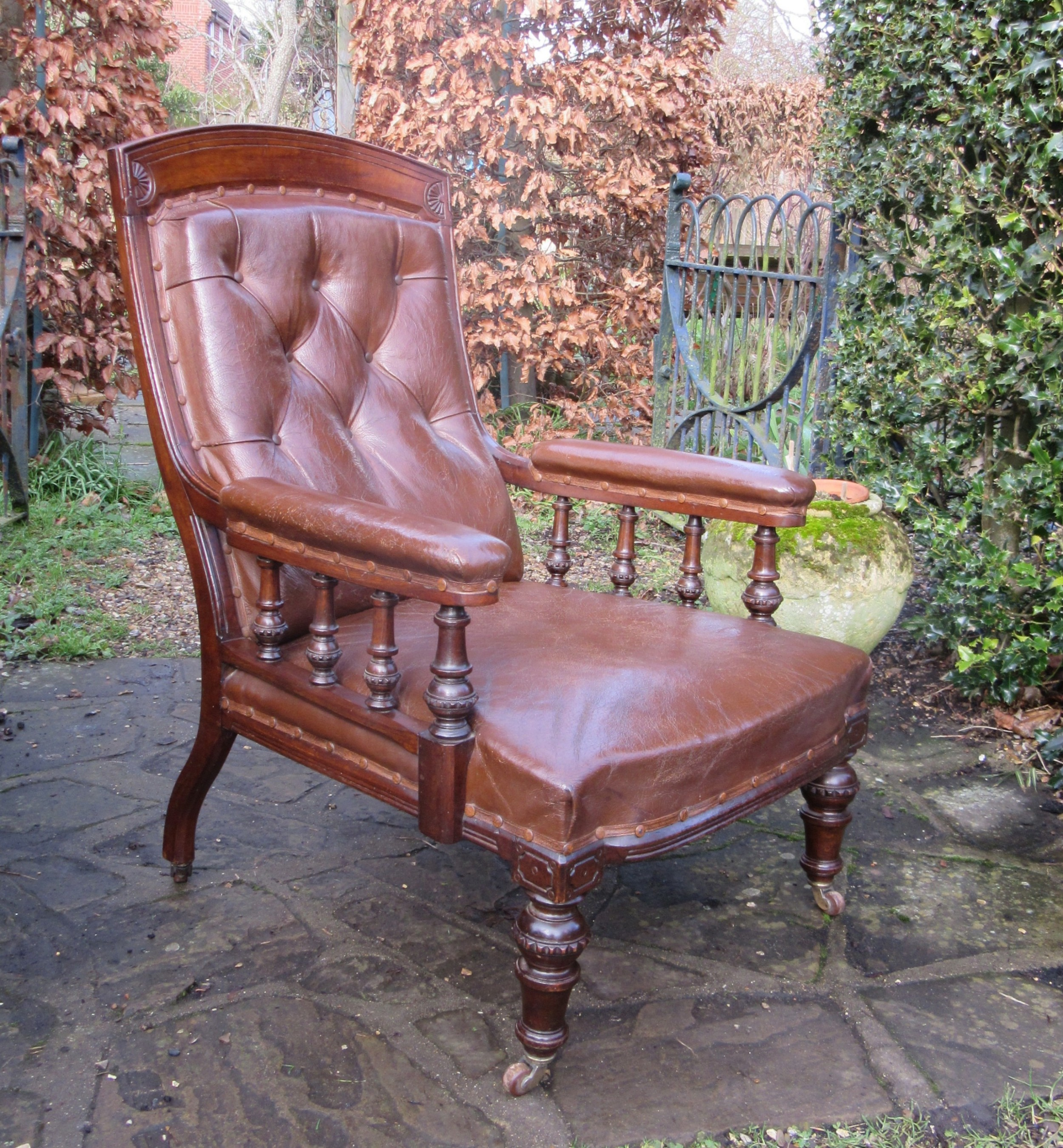 victorian oak leather library chair