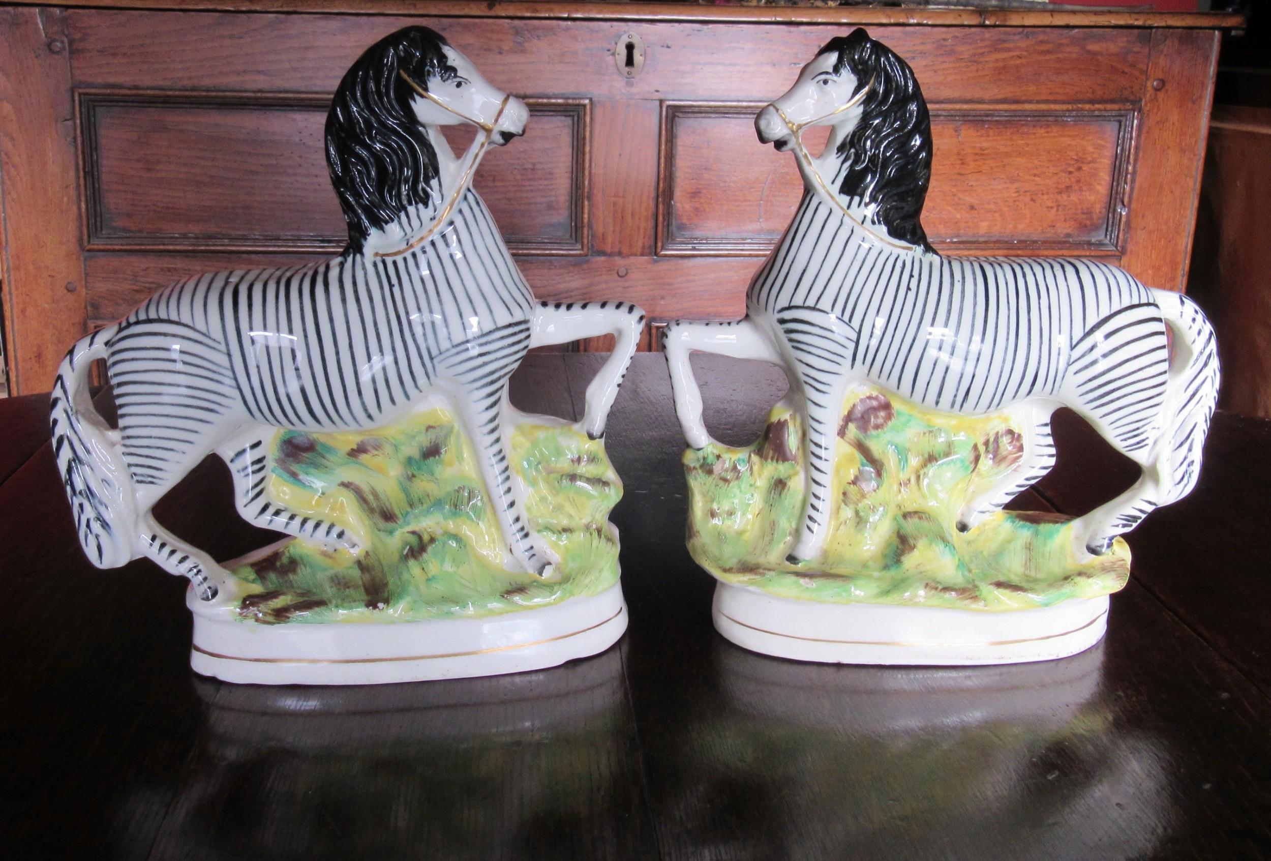 good pair of staffordshire zebras c1860