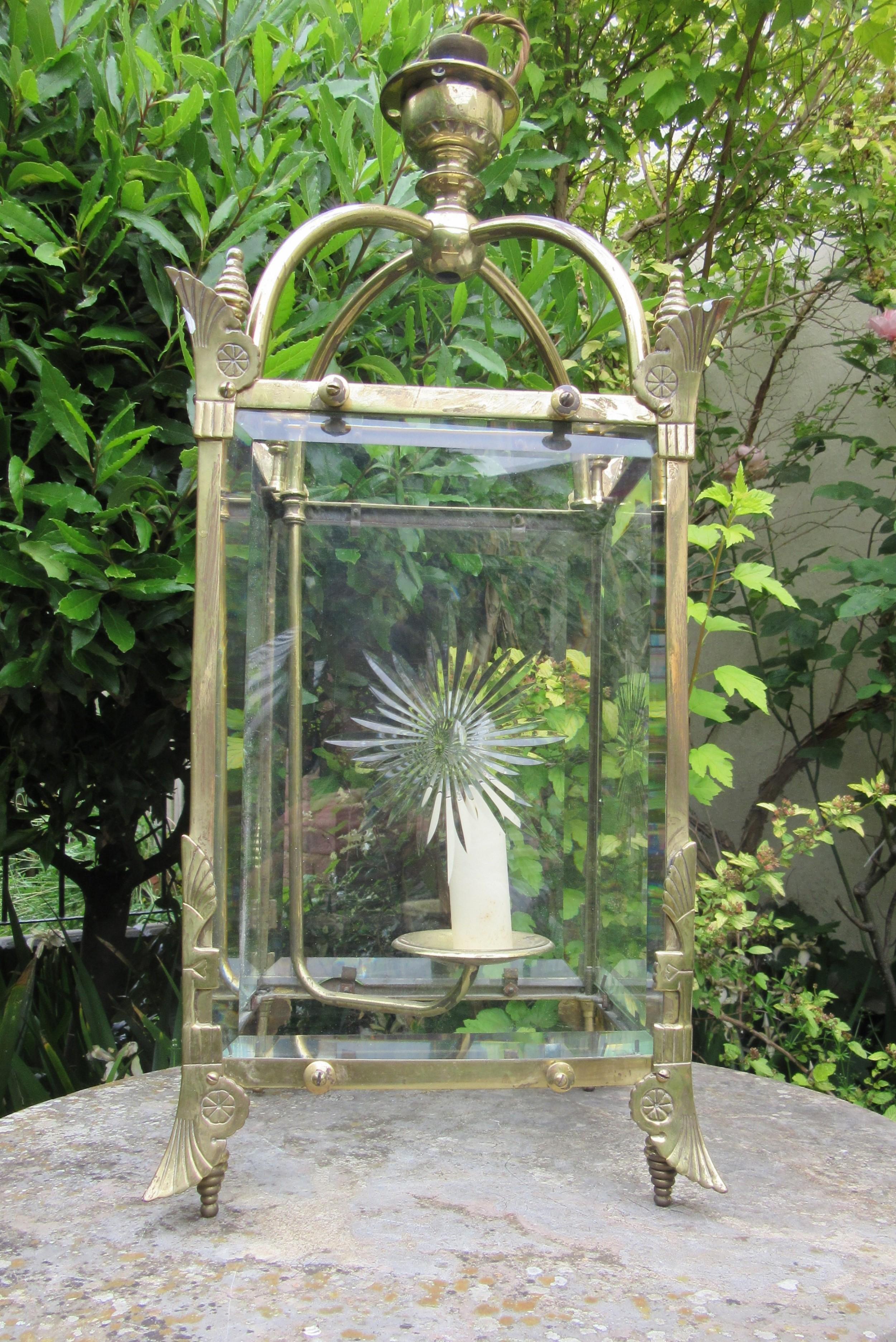 english brass aesthetic movement style hall lantern c1890