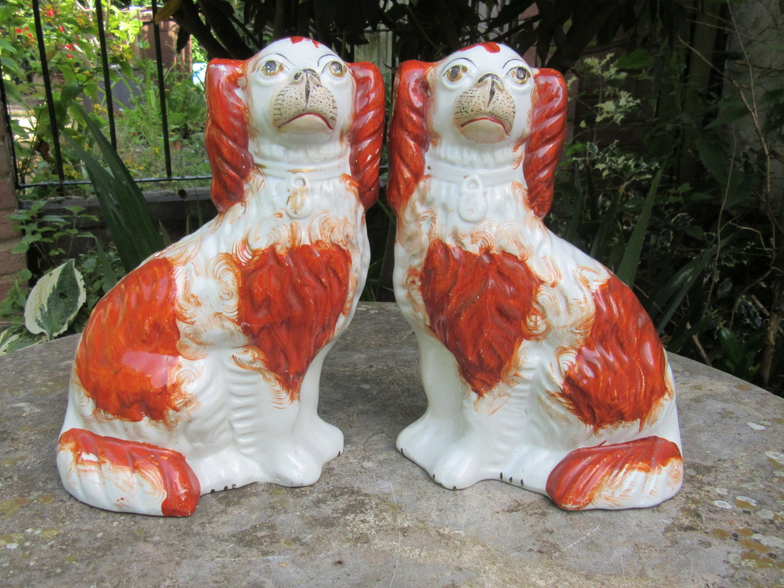 good pair of victorian red white staffordshire dogs c1860