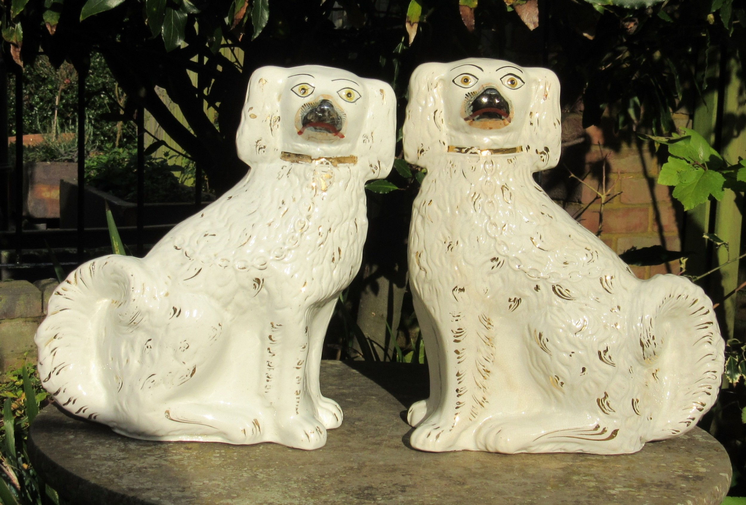 large pair of victorian staffordshire dogs c1880