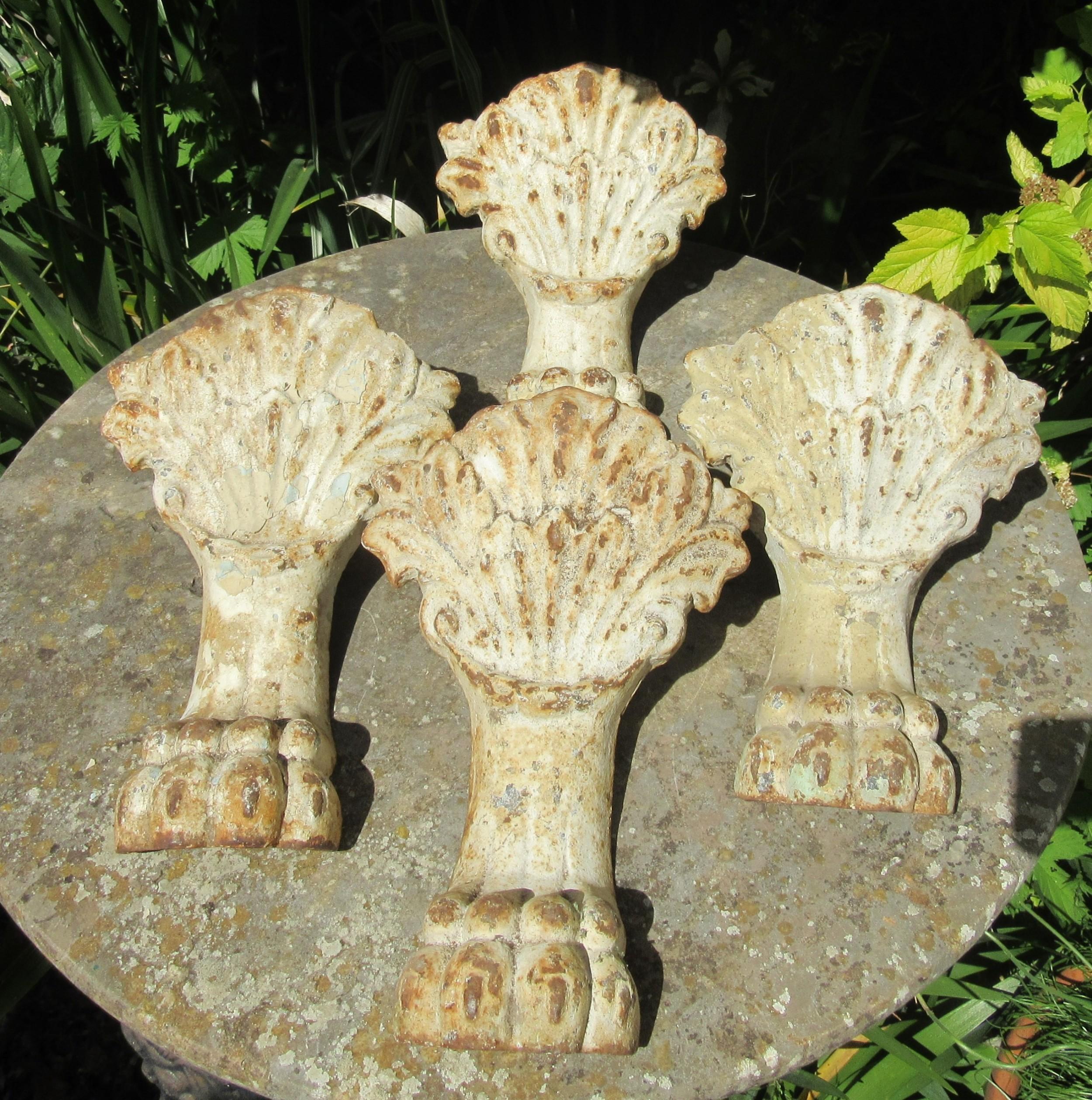 set of 4 large victorian cast iron lion's paw bath feet