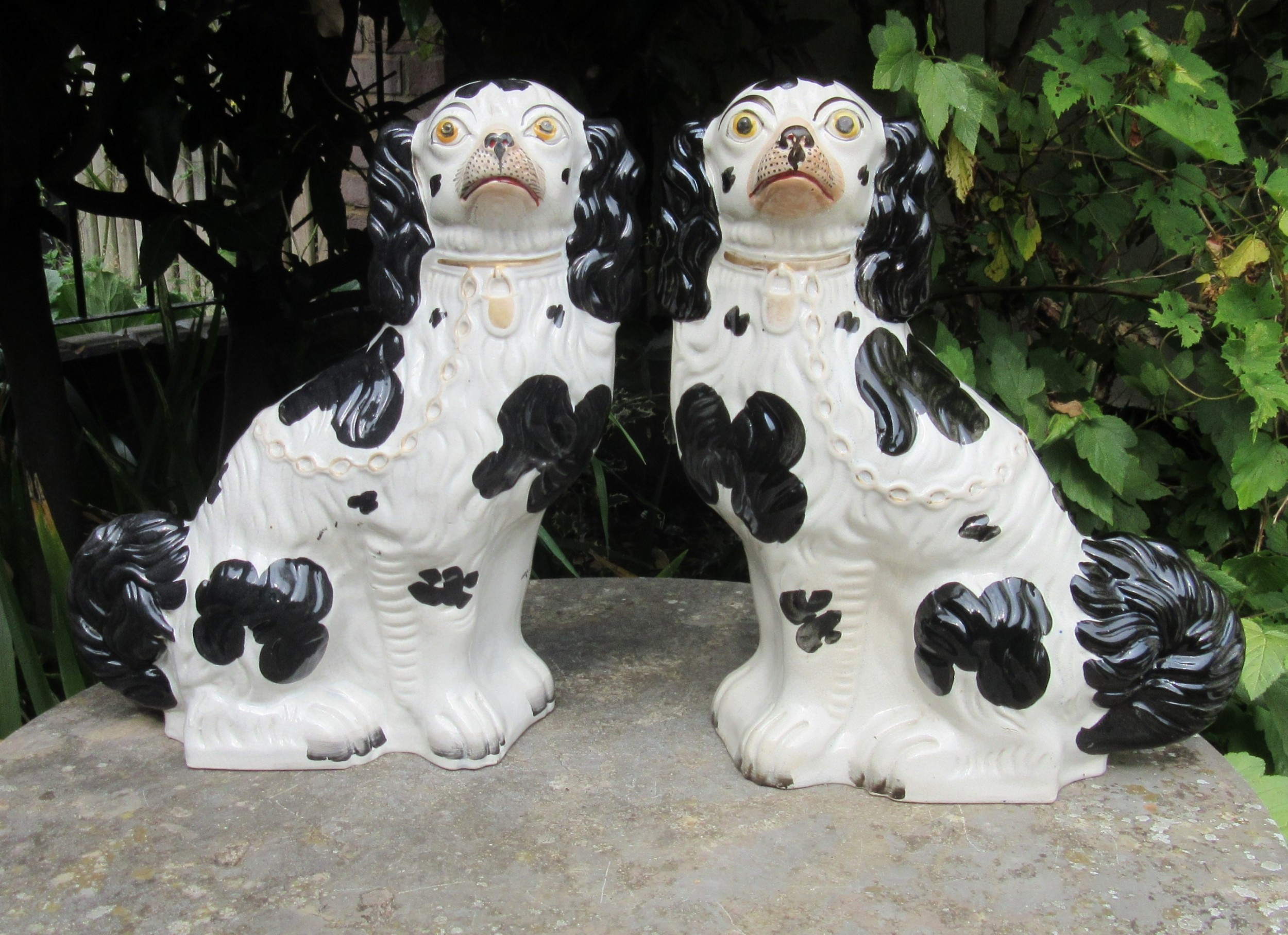 grand pair of victorian black white staffordshire dogs no1