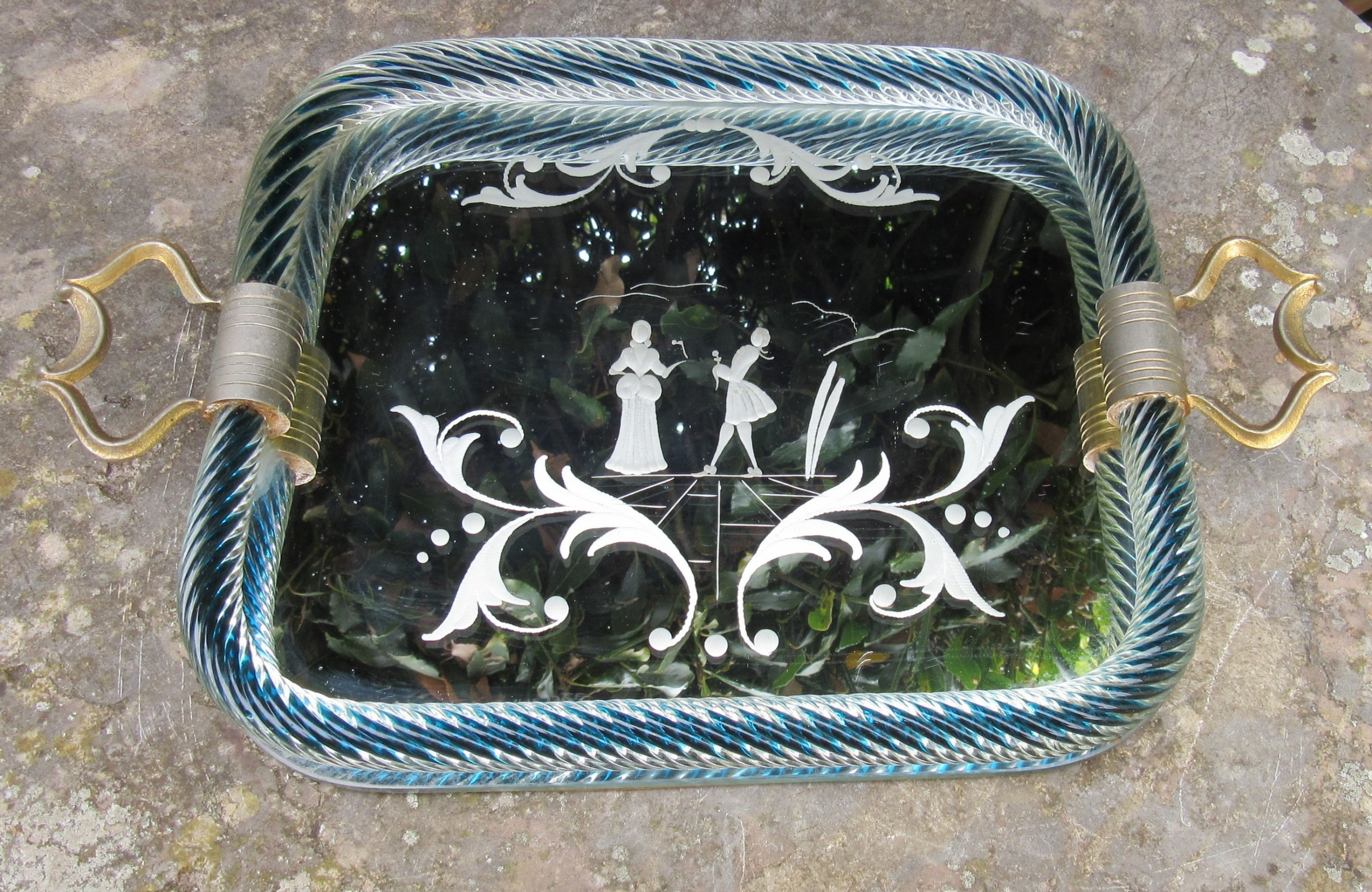 murano etched glass tray