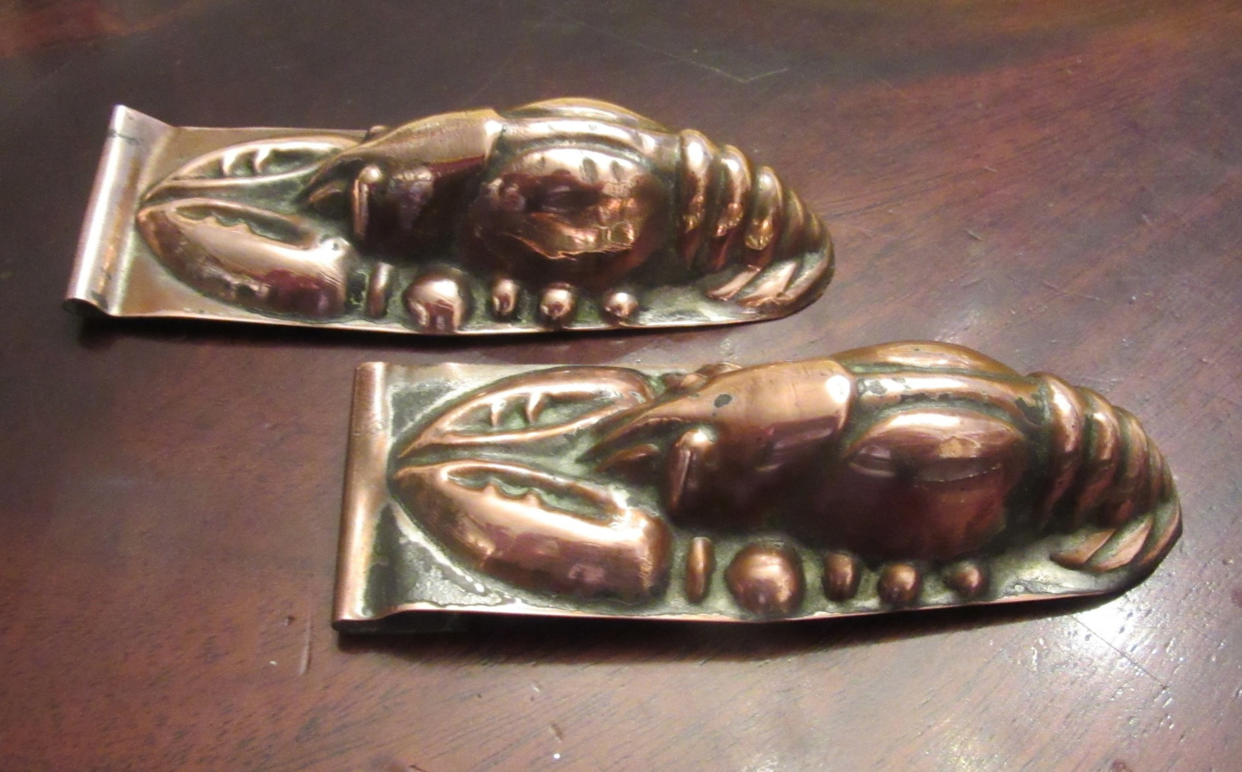 two victorian copper lobster aspicchocolate moulds