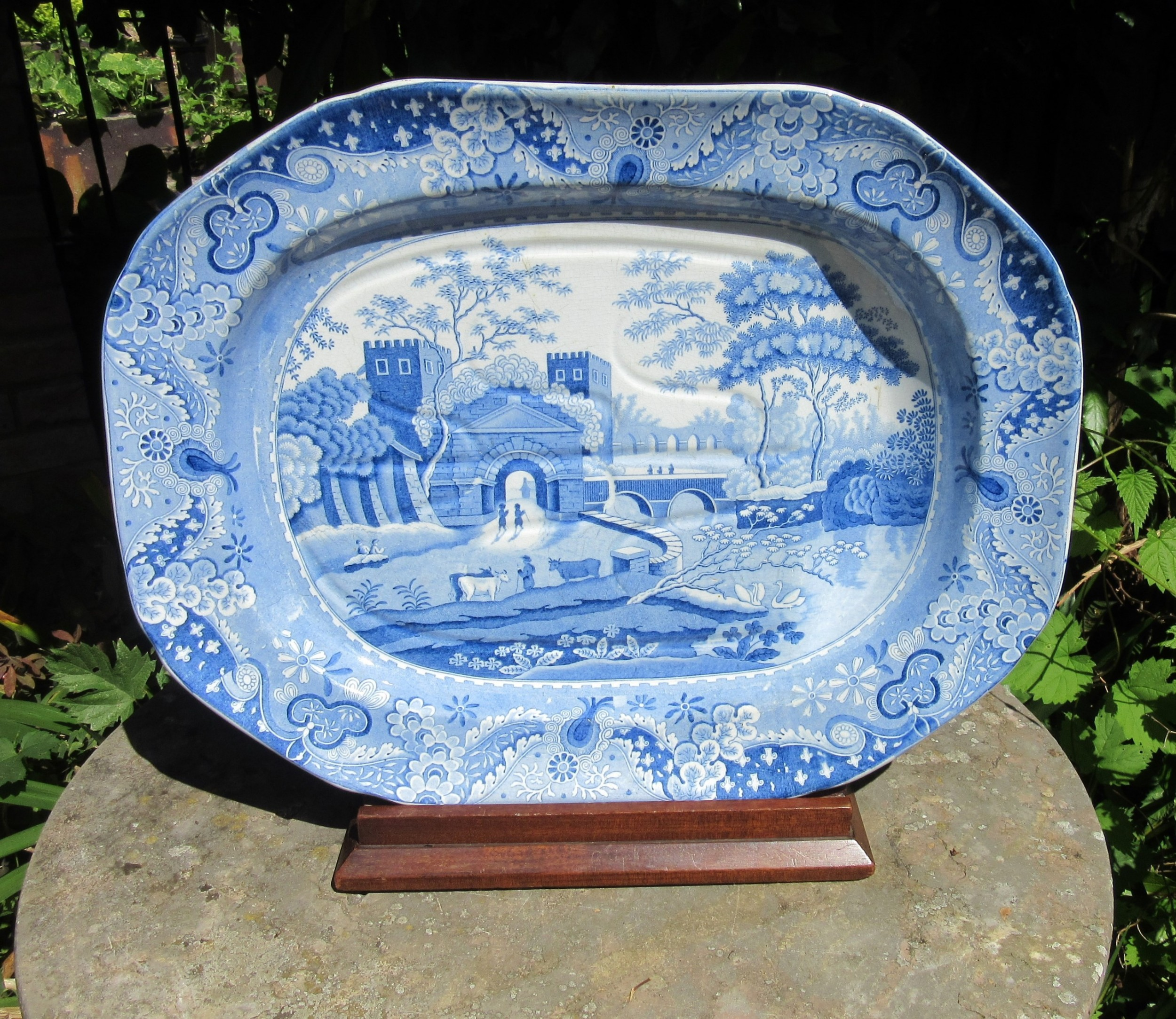 english georgian blue white well and tree serving plate