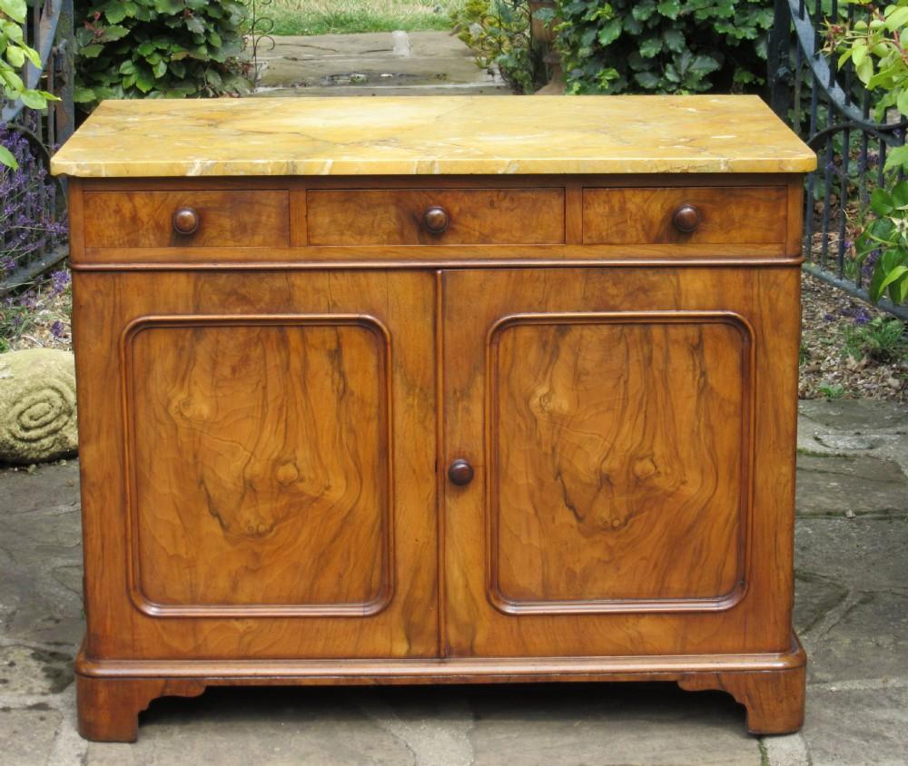 English Figured Walnut Sienna Marble Sideboard Cupboard C1860