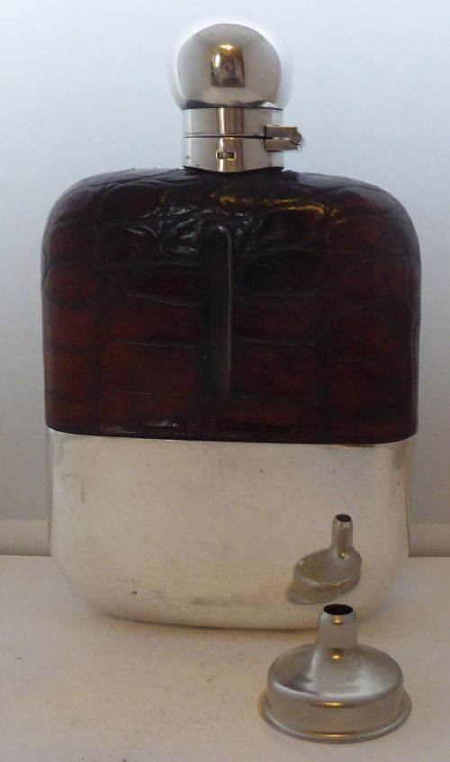 1930's silver plate plated crocodile skin bound glass hip flask james dixon