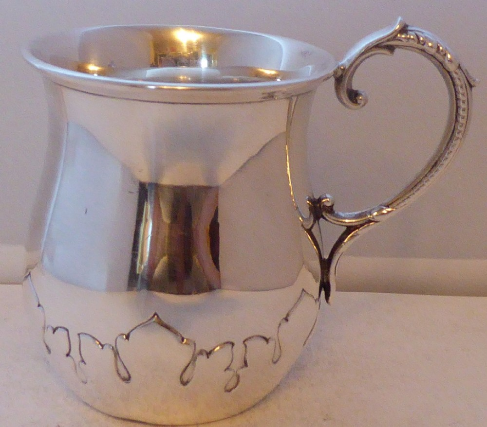 scottish 1915 hallmarked solid silver christening 12 pint tankard mug