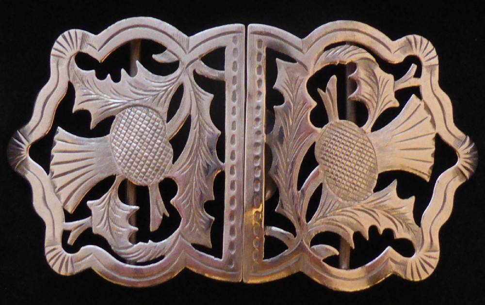 scottish thistle 1900 hallmarked solid silver nurses belt buckle
