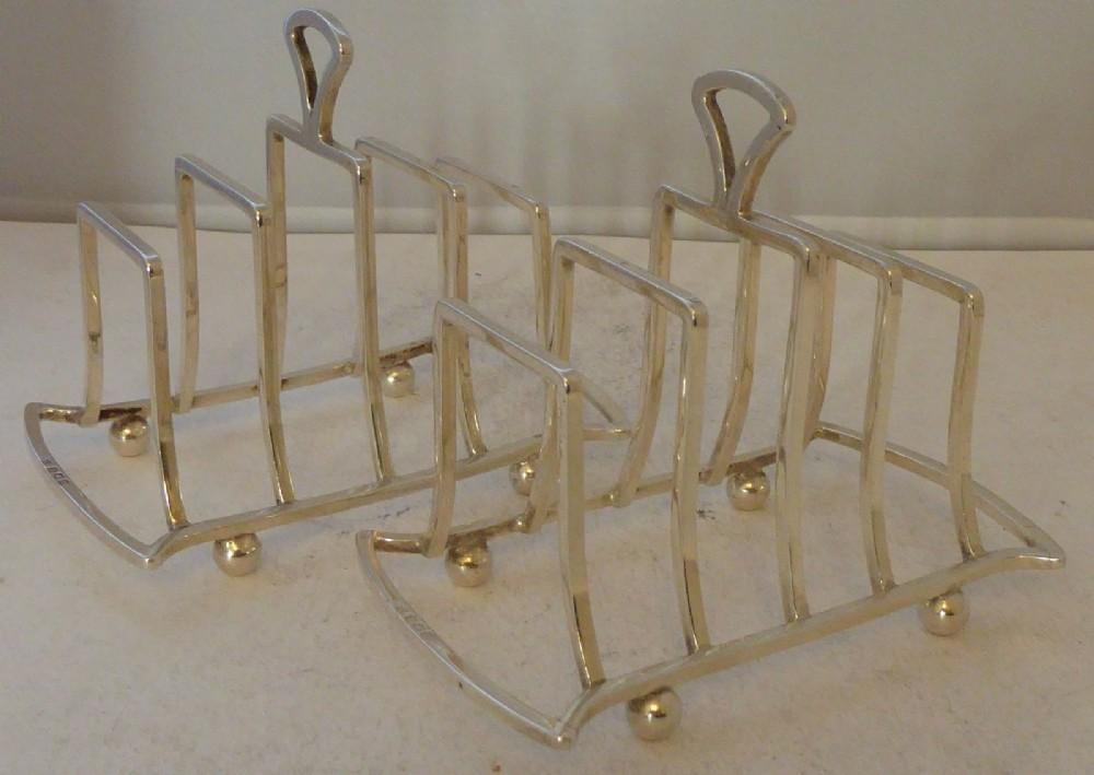 pair art deco solid hallmarked silver toast racks birmingham 1926 g unite