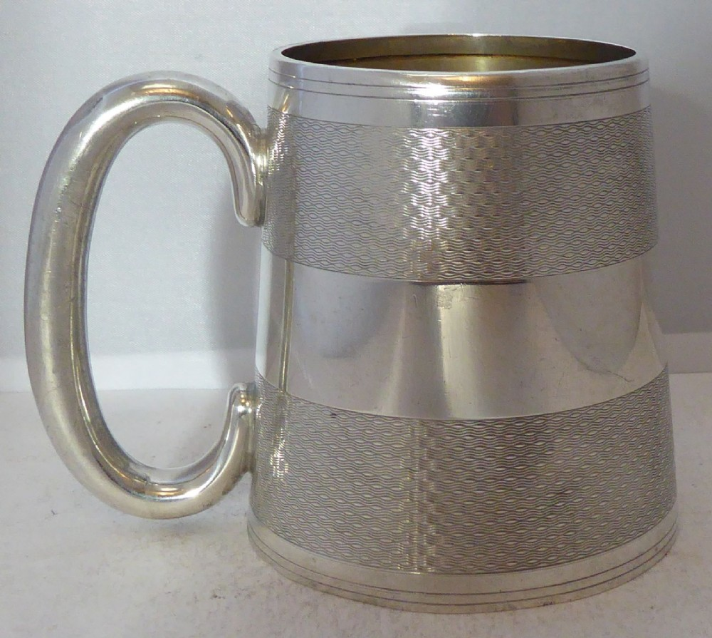 birmingham 1922 hallmarked solid silver christening mug tankard william neale art deco