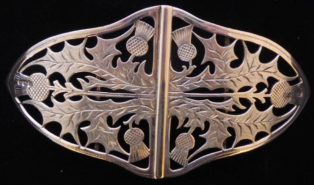 victorian 1898 scottish thistle hallmarked solid silver nurses belt buckle