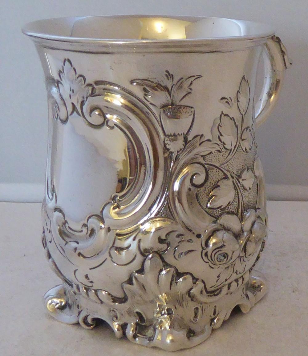 victorian 1859 hallmarked solid silver christening mug tankard 1371g