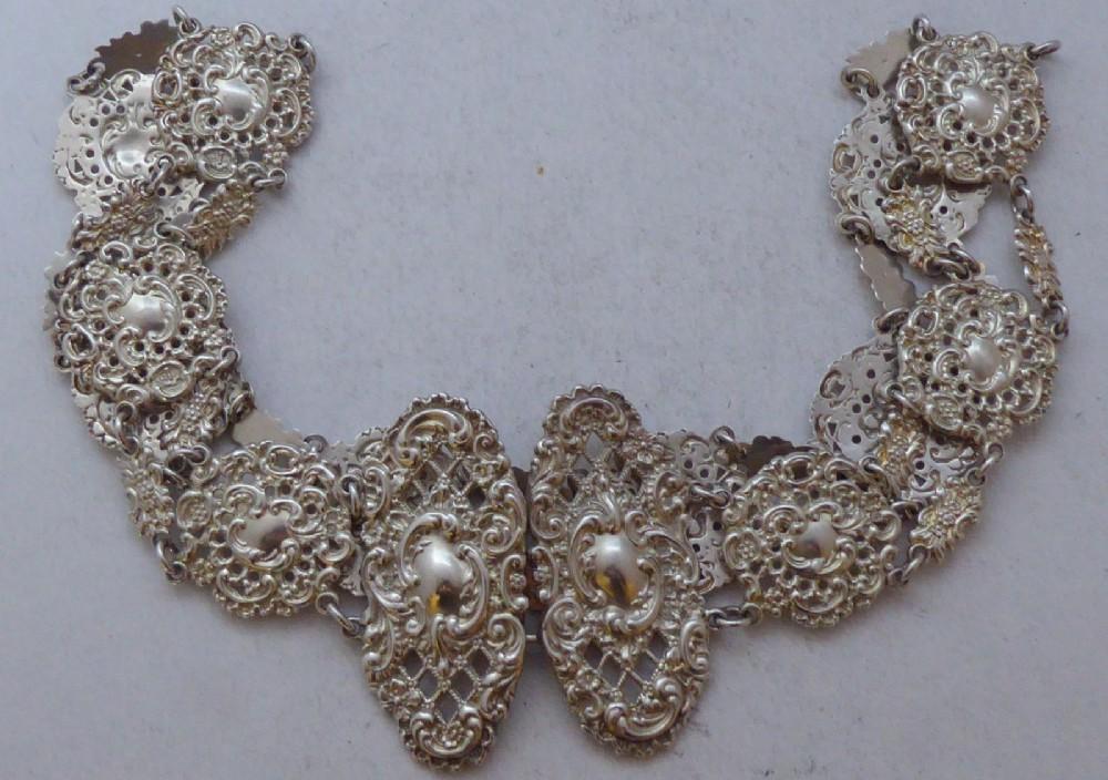 victorian birmingham 1897 hallmarked solid silver nurses belt and buckle salaman