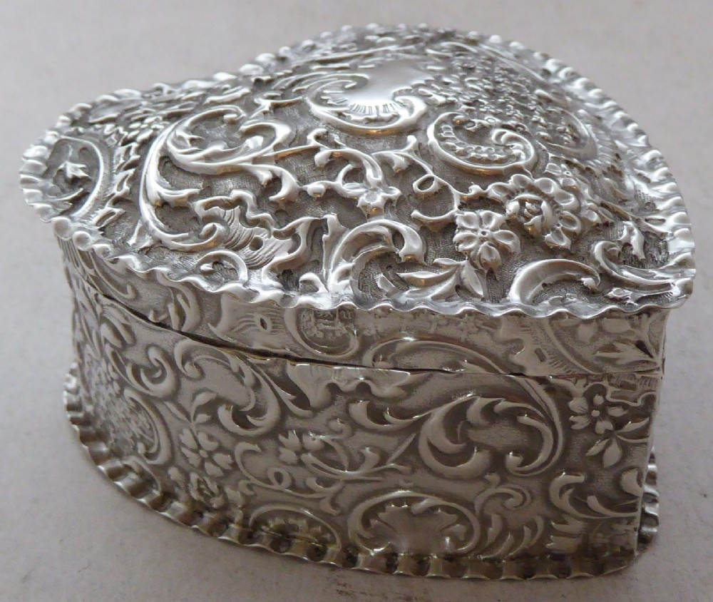 victorian 1887 hallmarked solid silver love heart pill earring jewellery box