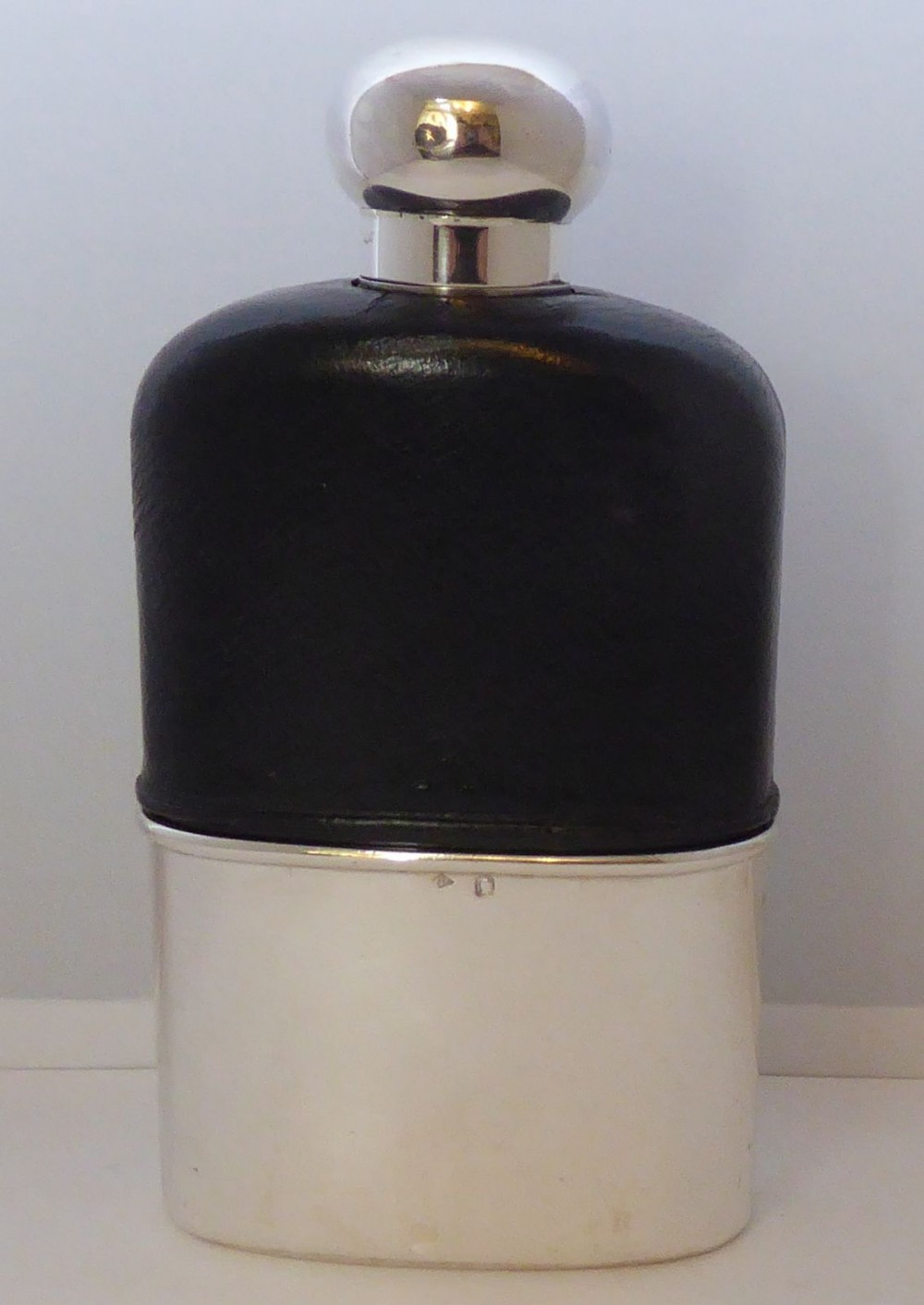 french c1900 gustave keller solid hallmarked silver leather bound hip flask